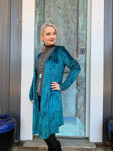 Teal So Chic Velvet Duster