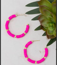 Load image into Gallery viewer, All Summer Pink Bead Slice Hoops