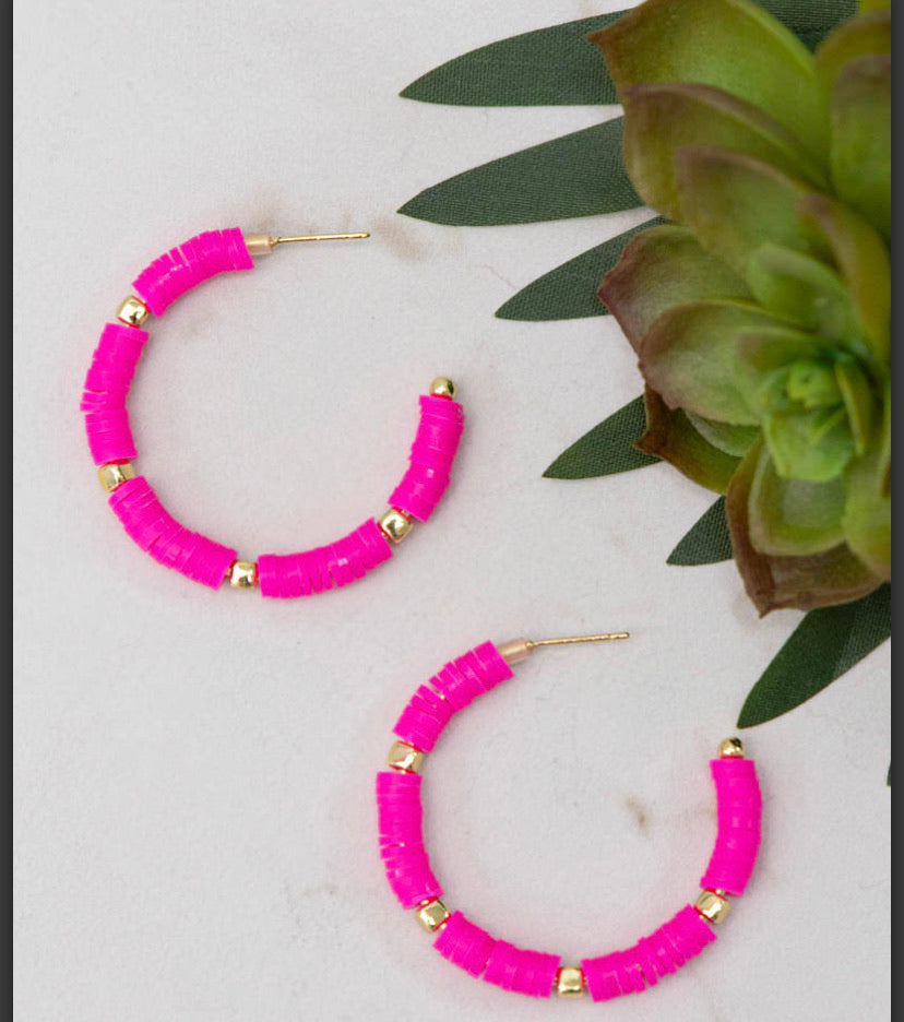 All Summer Pink Bead Slice Hoops