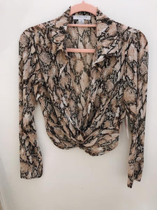 Snake print Cropped Blouse