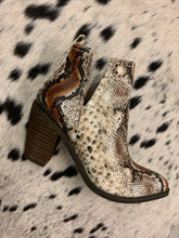Load image into Gallery viewer, Very Volatile Snake Heeled Bootie