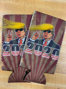 Trump 2020 Can Cooler with Comb Over Hair