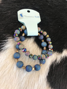 Midnight Iridescent Bead Bracelet Duo