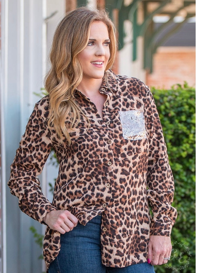 Faster than You Leopard Sequin Blouse