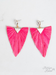 Coral Pink Raffia Party Dangles