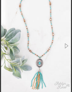 Conchos and Crystals Tassel Necklace