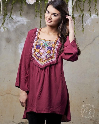 Burgundy Boho Embroidered Tunic Dress
