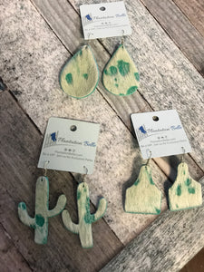Distressed Hide Mint Dangles