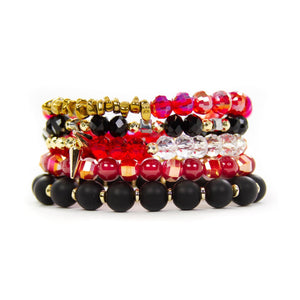Savvy Bling Buffalo Plaid Red & Black Stack