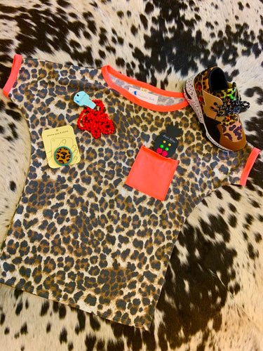 Leopard Tee with Neon Coral Pocket