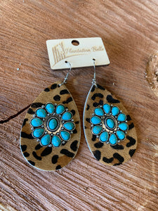 Turquoise Blossom on Leopard Hide Earrings