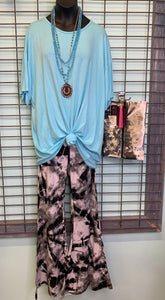 Black & Gray Tie Dye Flare Pants