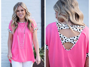 Pink Cheetah Details Top