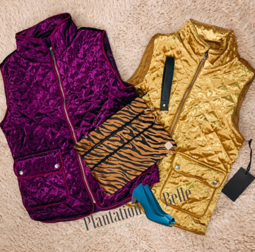 Royal Purple and Golden Girl Quilted Vests