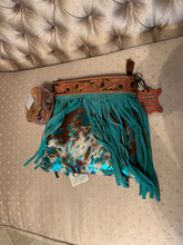Load image into Gallery viewer, Teal Acid Washed Cowhide Leather Fringe Concealed Carry Purse