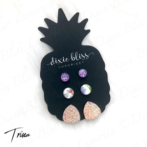 Dixie Bliss Peach and Pink Trina Druzy Trio