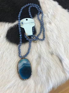 Midnight Natural Stone Pendant with Crystal Trim