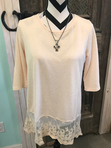 Cream Light Knit Lace Hem Tunic