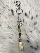Load image into Gallery viewer, Tree of Life Agate and Sterling Key Charmer