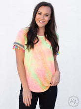 Load image into Gallery viewer, neon tie dye fringe top