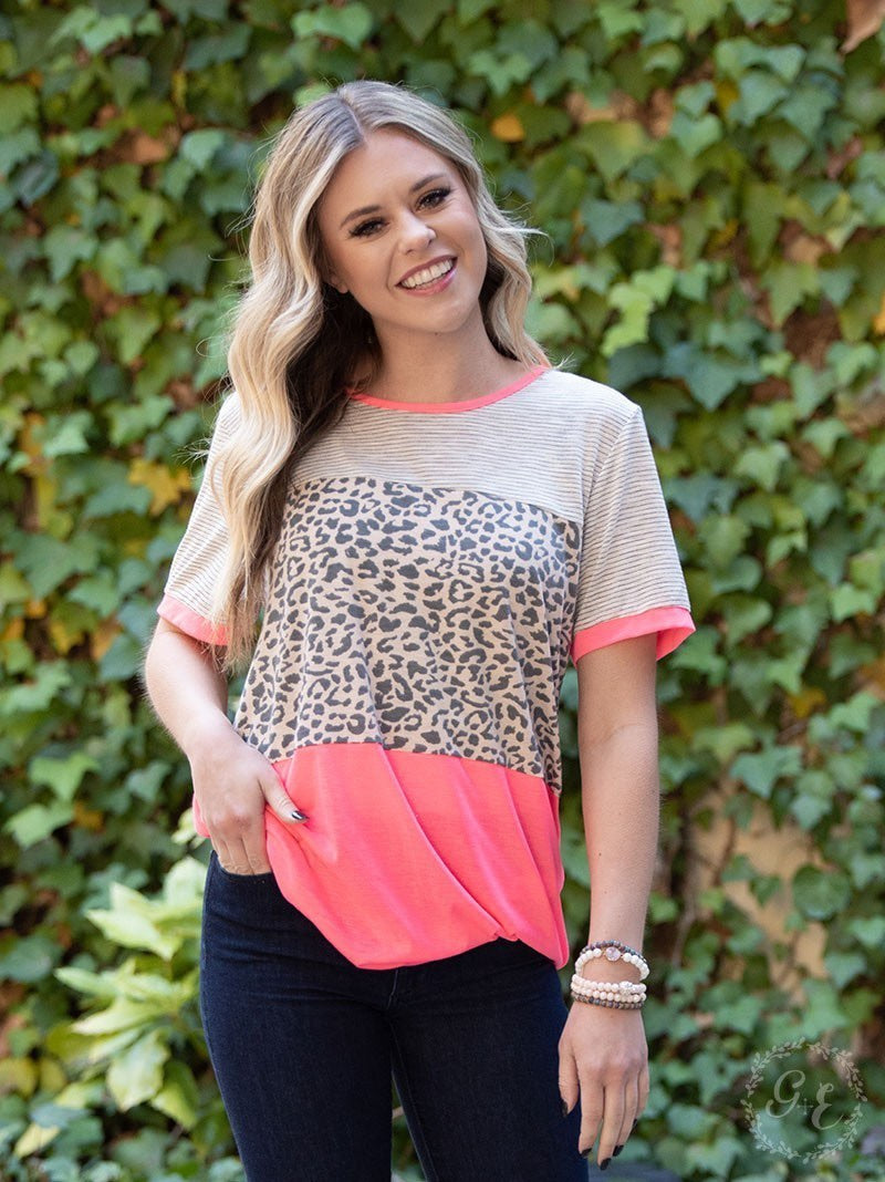 Bet on Me Neon Animal Print Top