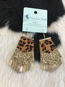 Fierce Fringe Leopard, Glitter & Metallic Gold Dangles