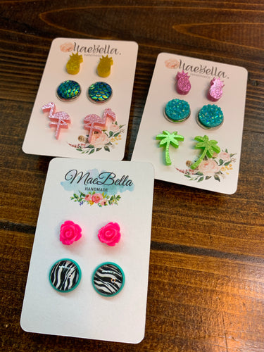 Summer Flamingo, Pineapple, Mermaid Earring Sets