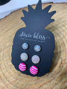 Dixie Bliss Valerie Pink Candy Stripe Druzy Trio