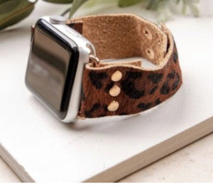 Leopard Leather Hair on Hide Apple Watchbands