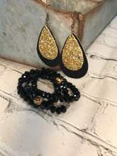 Load image into Gallery viewer, Black Suede and Cork with Gold Glitter Dangles