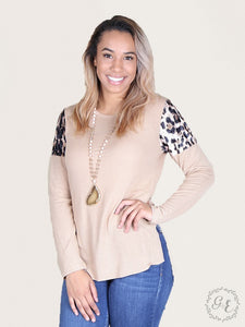 leopard velvet shoulder sweater