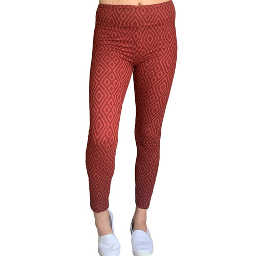 Maroon Ikat Yoga Waistband Career Leggings