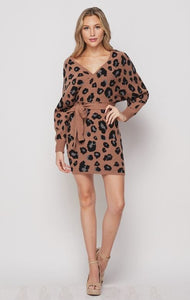Mocha Leopard Sweater Dress