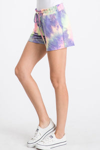 Plus Tie Dye Cotton Candy Lounge Pocket Shorts Made in USA
