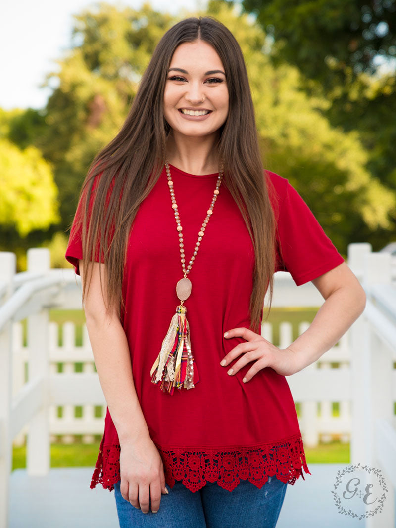 Red Lace Hem Top