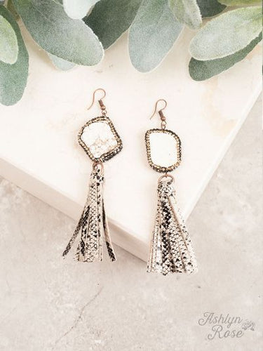Rock the Look Snake Tassel Earrings with Bling