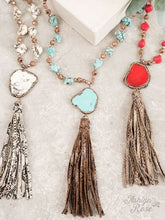 Load image into Gallery viewer, Rock the Look Stone and Crystal Pendant on Snake Tassel