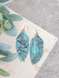 Turquoise Python Leather Feathers