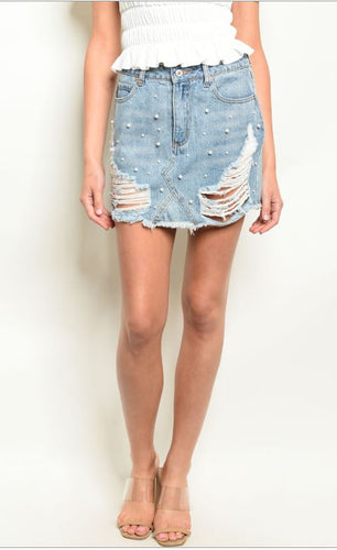 Distressed Denim & Pearls Skirt