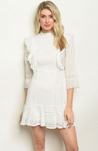 White Eyelet Lace Dress Bridal Shower Dress