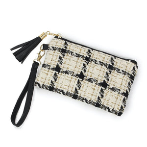 White, Gold & Black Tweed Makeup Bag