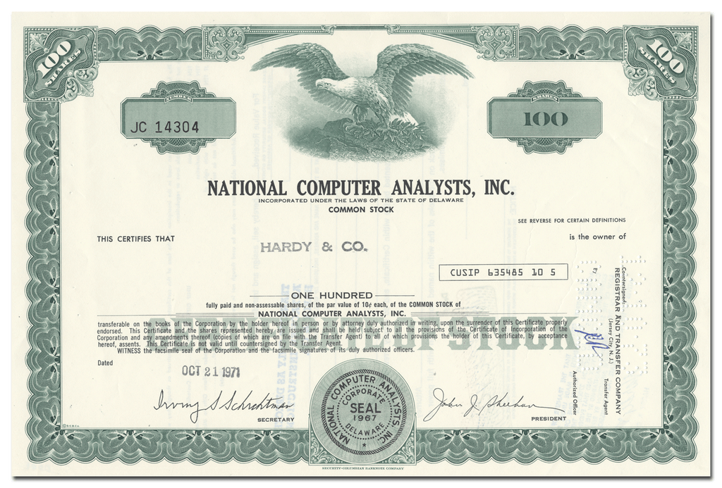 National Computer Analysts, Inc. Stock Certificate