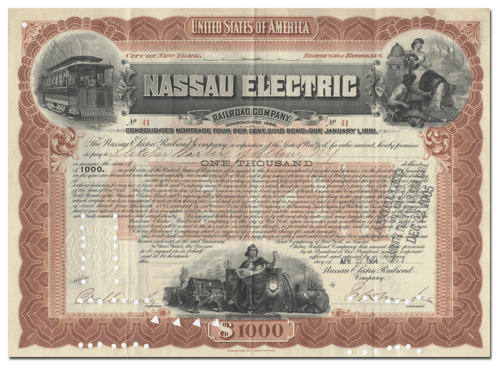 Nassau Electric Railroad Company Bond Certificate