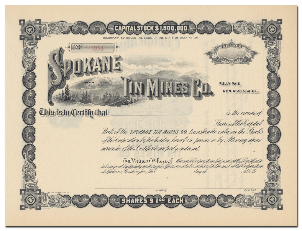 Spokane Tin Mines Co. Stock Certificate