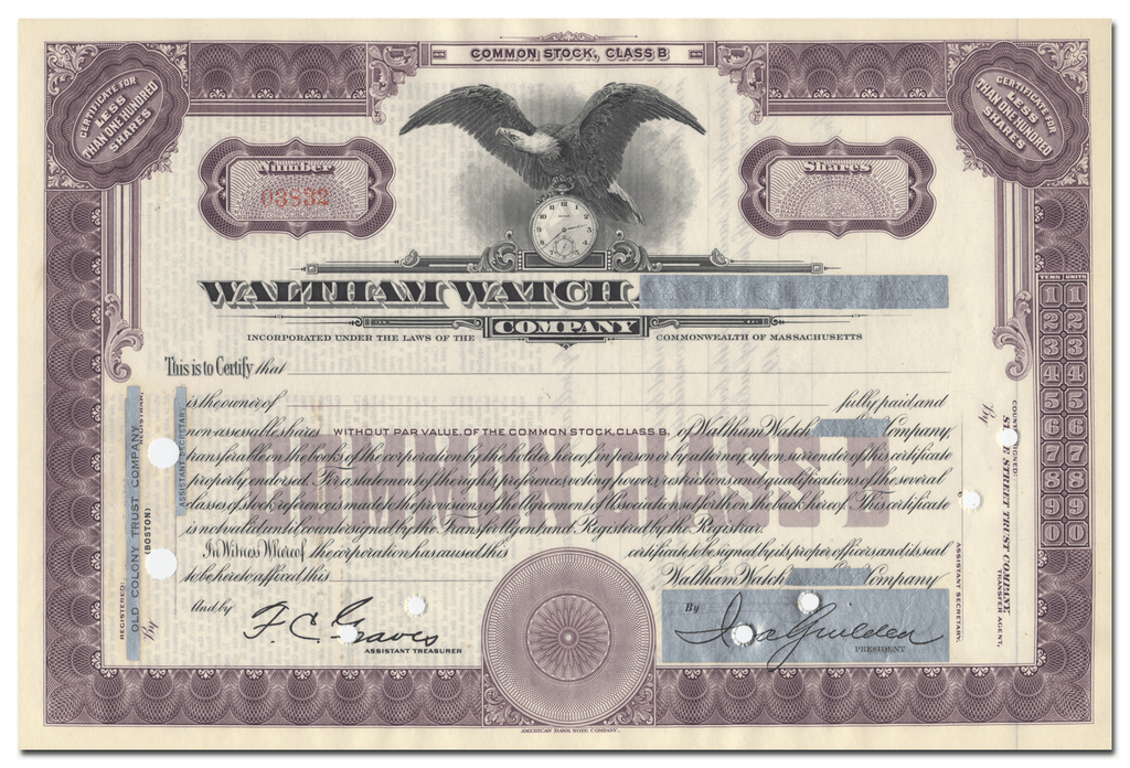 Waltham Watch Company Stock Certificate