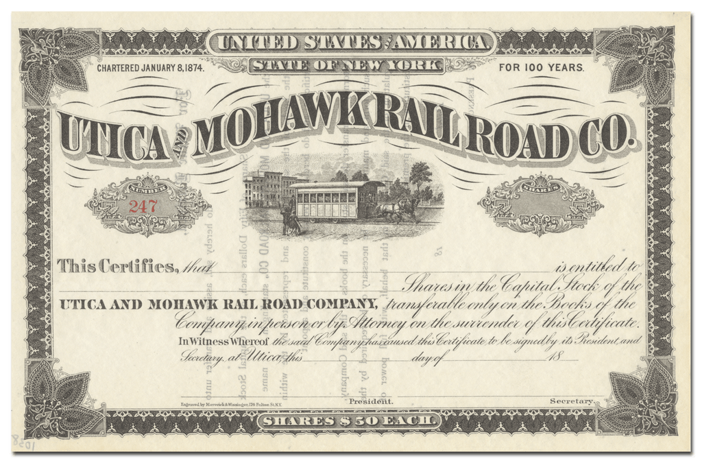 Utica and Mohawk Rail Road Company Stock Certificate
