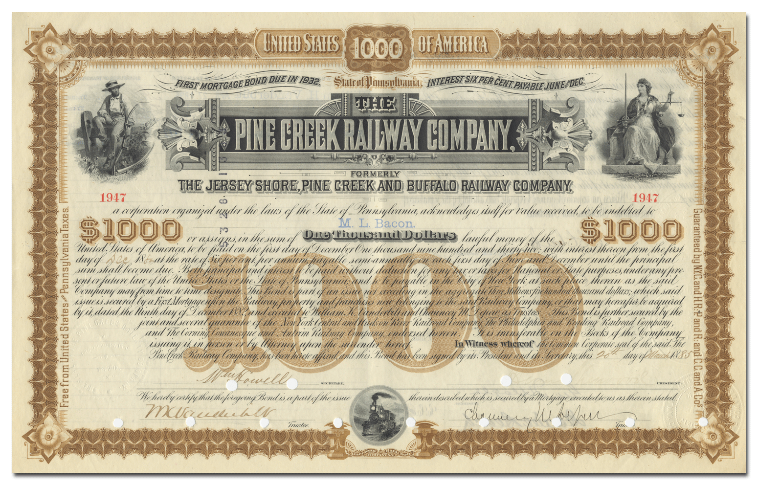 Pine Creek Railway Company Bond Signed by DePew and