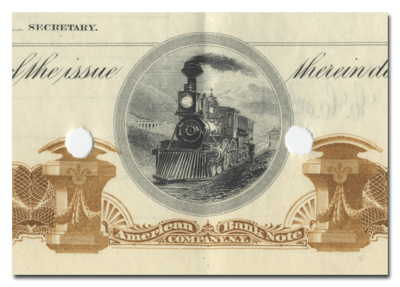 Pine Creek Railway Company Bond Certificate Signed by William K. Vanderbilt and Chauncey DePew
