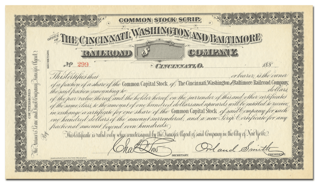 Cincinnati, Washington and Baltimore Railroad Company Stock Certificate