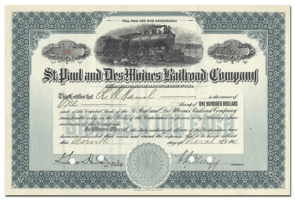 St. Paul and Des Moines Railroad Company Stock Ceretificate
